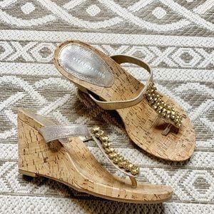 Gianni Bini Wedge Cork Metallic Strap Thong Sandal